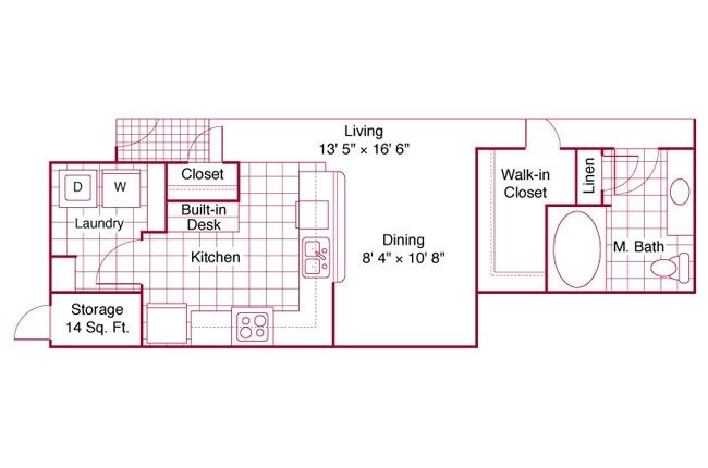 1,155 sq. ft. B22 floor plan