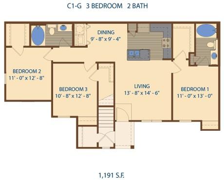 1,191 sq. ft. C1 floor plan