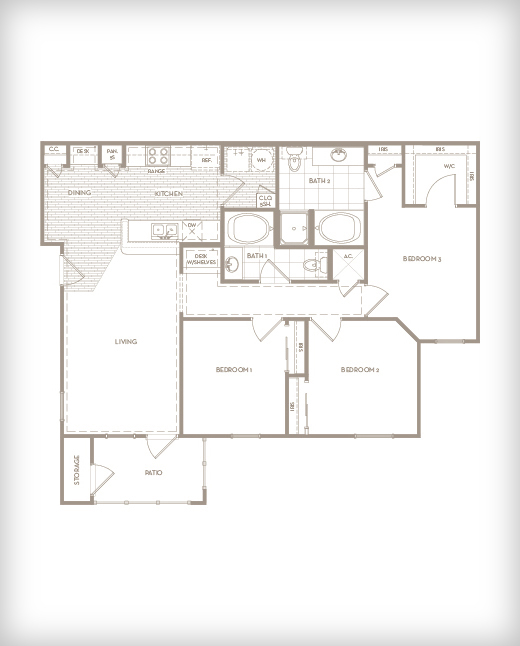 1,230 sq. ft. C1 Sanctuary floor plan