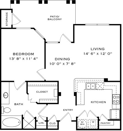 915 sq. ft. A1J floor plan