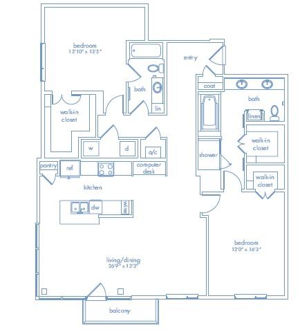 1,618 sq. ft. Cezanne Two floor plan