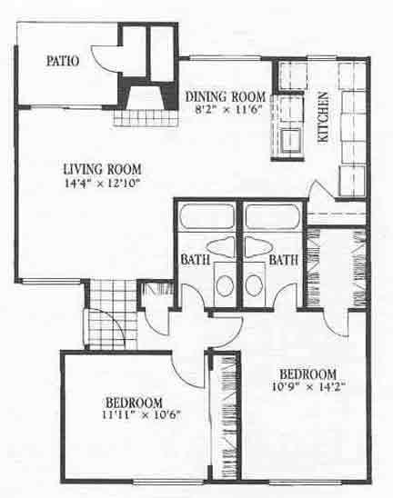 979 sq. ft. B7 floor plan