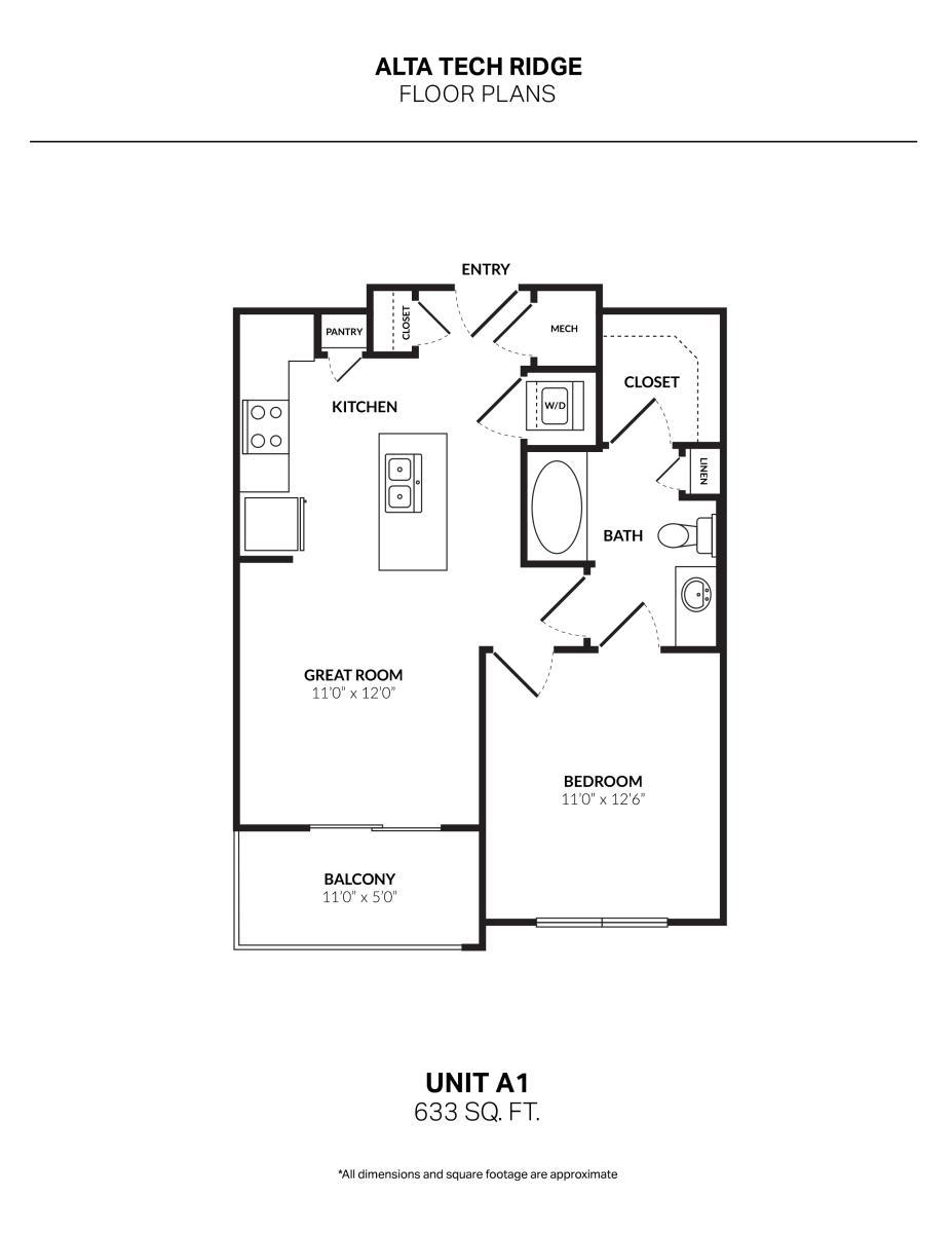 633 sq. ft. A1 floor plan