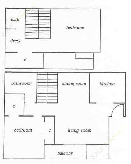 980 sq. ft. Park floor plan