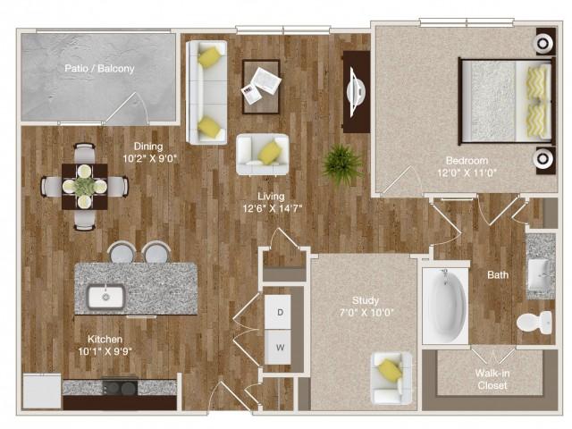 845 sq. ft. A6 floor plan