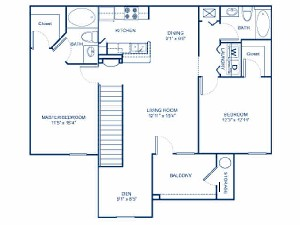 1,211 sq. ft. B2G floor plan