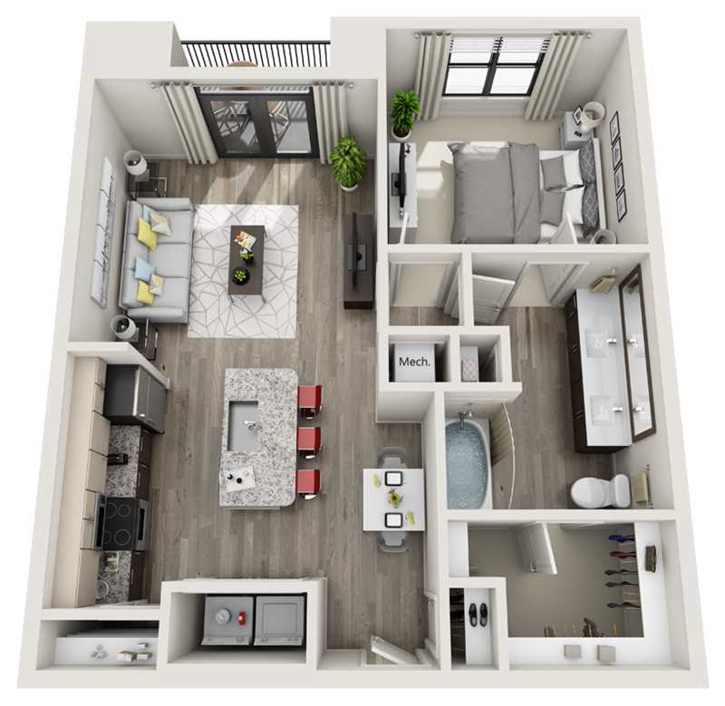 783 sq. ft. to 810 sq. ft. A3 floor plan