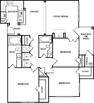 1,256 sq. ft. B2SF floor plan