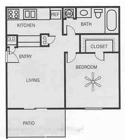 504 sq. ft. A1A/PECAN floor plan