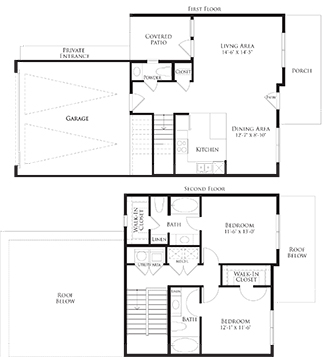 1,313 sq. ft. 6THB3GG floor plan