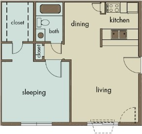 654 sq. ft. A7 floor plan