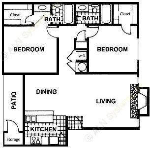967 sq. ft. B8 floor plan
