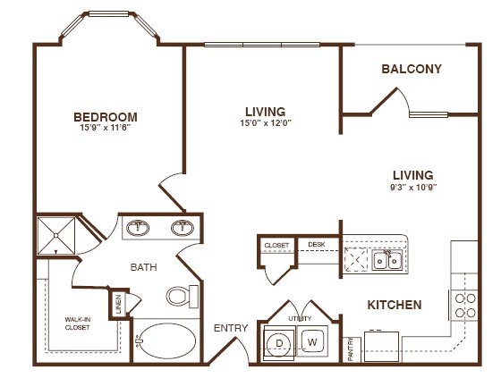 933 sq. ft. A4S floor plan