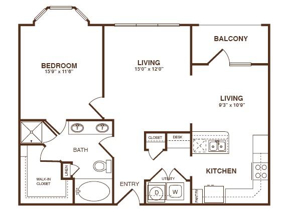 933 sq. ft. A4S floor plan