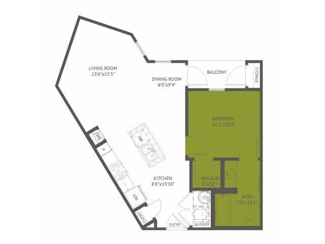 684 sq. ft. Glenarm/Mkt floor plan