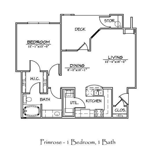 779 sq. ft. PRIMROSE floor plan