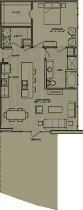 957 sq. ft. A8 floor plan