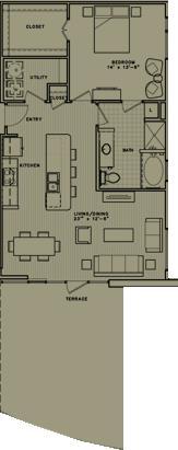 957 sq. ft. A8 floor plan