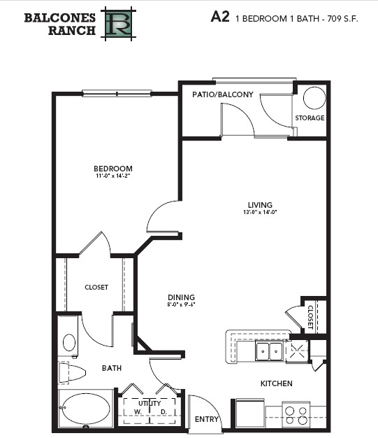 709 sq. ft. Emerald floor plan