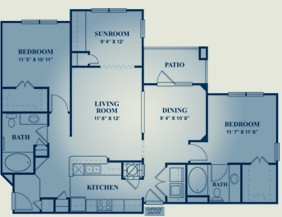 1,290 sq. ft. MERLOT floor plan