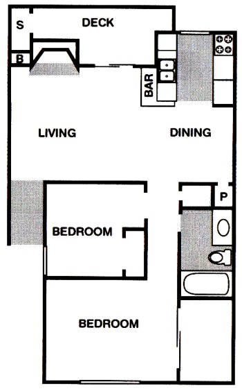 774 sq. ft. B2 floor plan