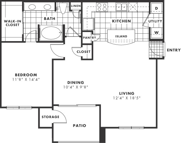 883 sq. ft. PH II floor plan
