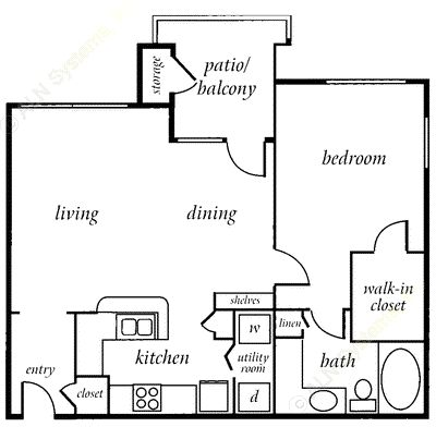 768 sq. ft. CONCORD floor plan