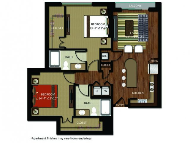 1,190 sq. ft. B11 floor plan