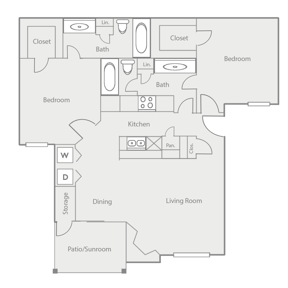 1,050 sq. ft. B4 floor plan