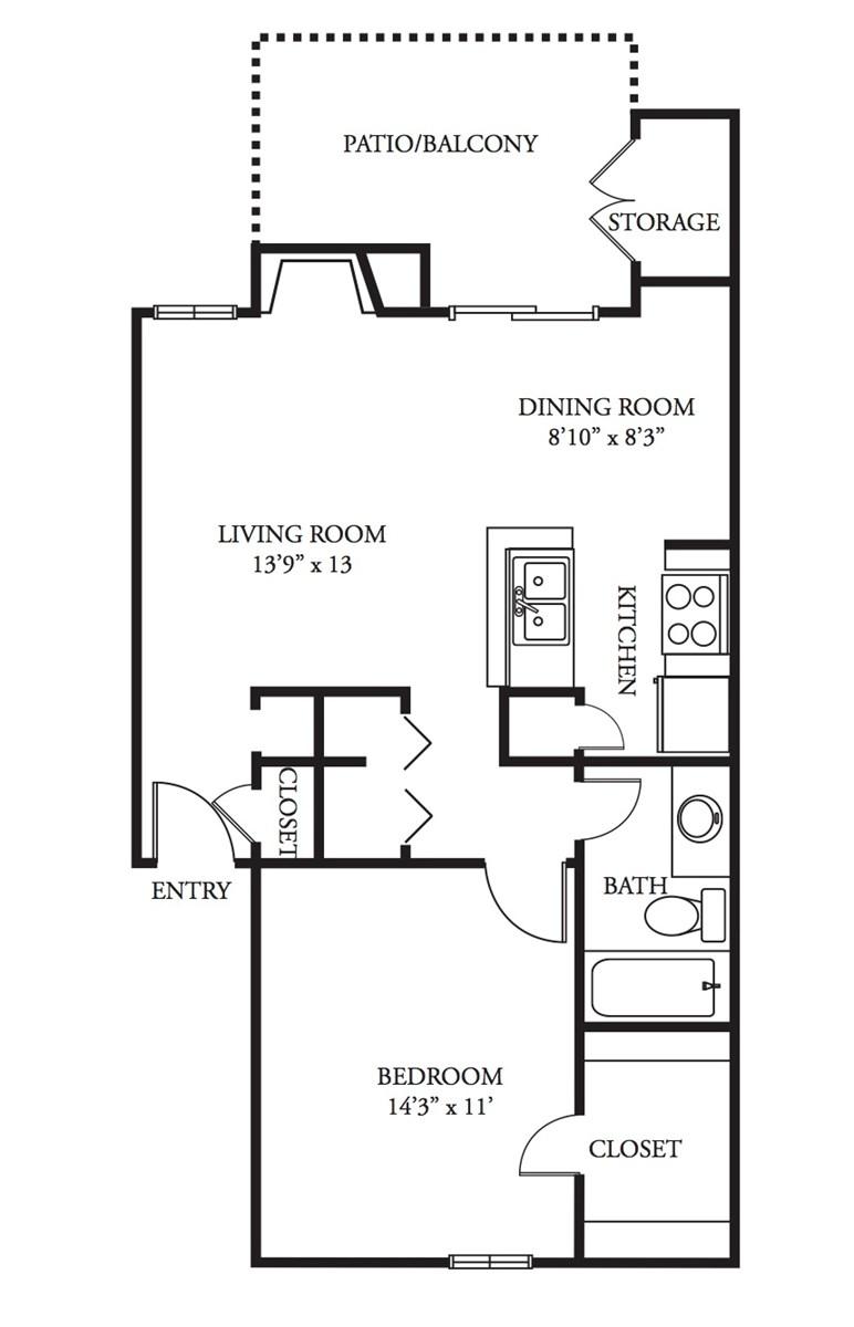 690 sq. ft. Chainti floor plan