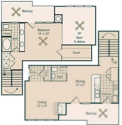 1,109 sq. ft. Goldwyn floor plan
