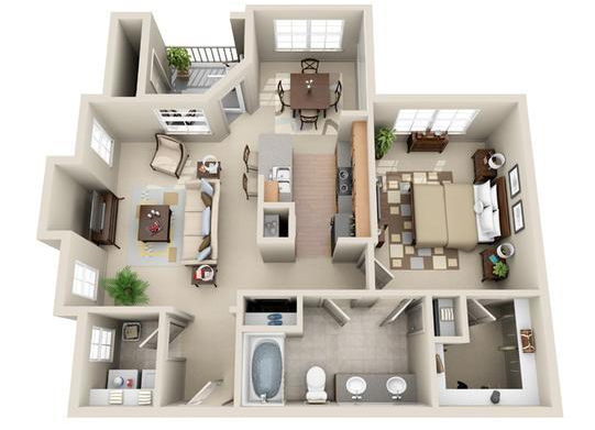 845 sq. ft. Moscow floor plan