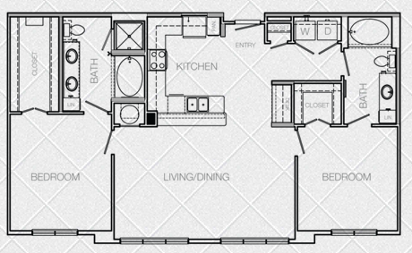 1,215 sq. ft. K floor plan