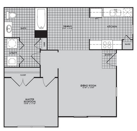 684 sq. ft. to 826 sq. ft. 60% floor plan