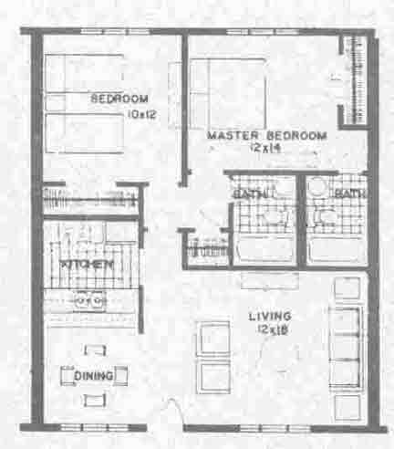 832 sq. ft. B3 floor plan