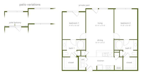 1,184 sq. ft. B2 floor plan