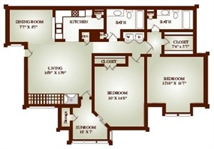 1,018 sq. ft. BIS floor plan