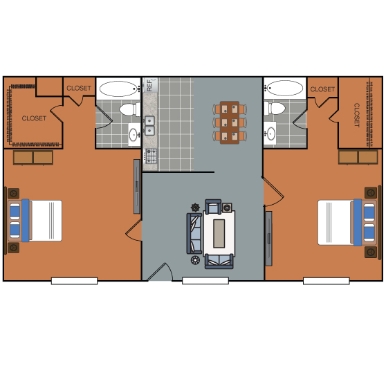 1,004 sq. ft. B2 floor plan