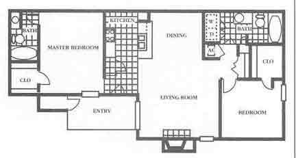 950 sq. ft. B2 Mkt floor plan