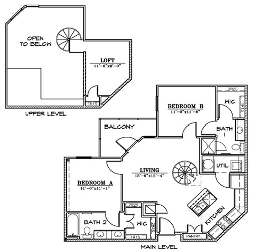1,022 sq. ft. B5L floor plan