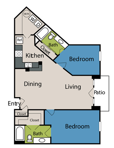 1,224 sq. ft. to 1,229 sq. ft. floor plan