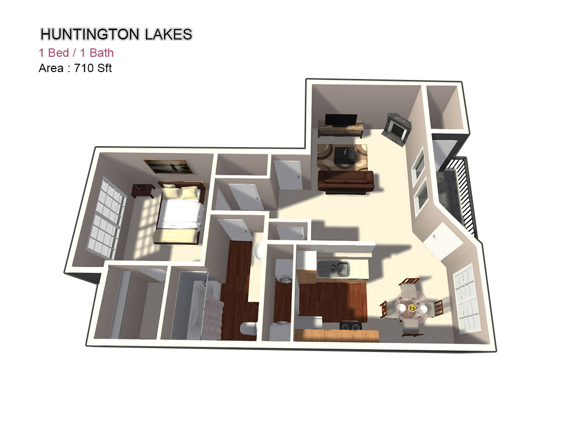 710 sq. ft. 1X1 floor plan
