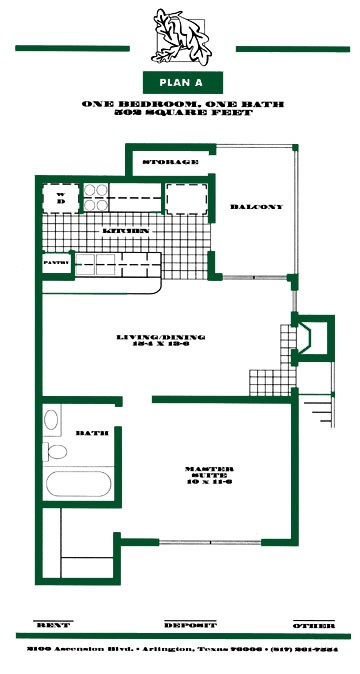 502 sq. ft. A PH I floor plan
