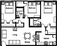 1,238 sq. ft. to 1,405 sq. ft. floor plan