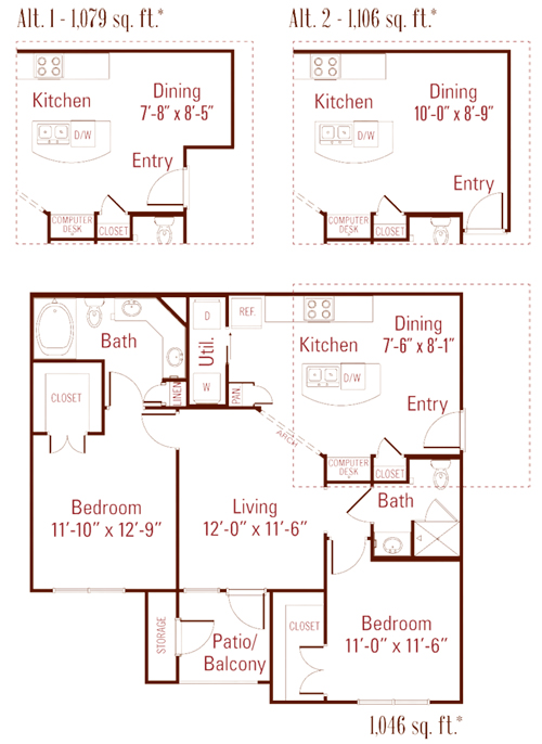 1,046 sq. ft. to 1,106 sq. ft. Oleander floor plan