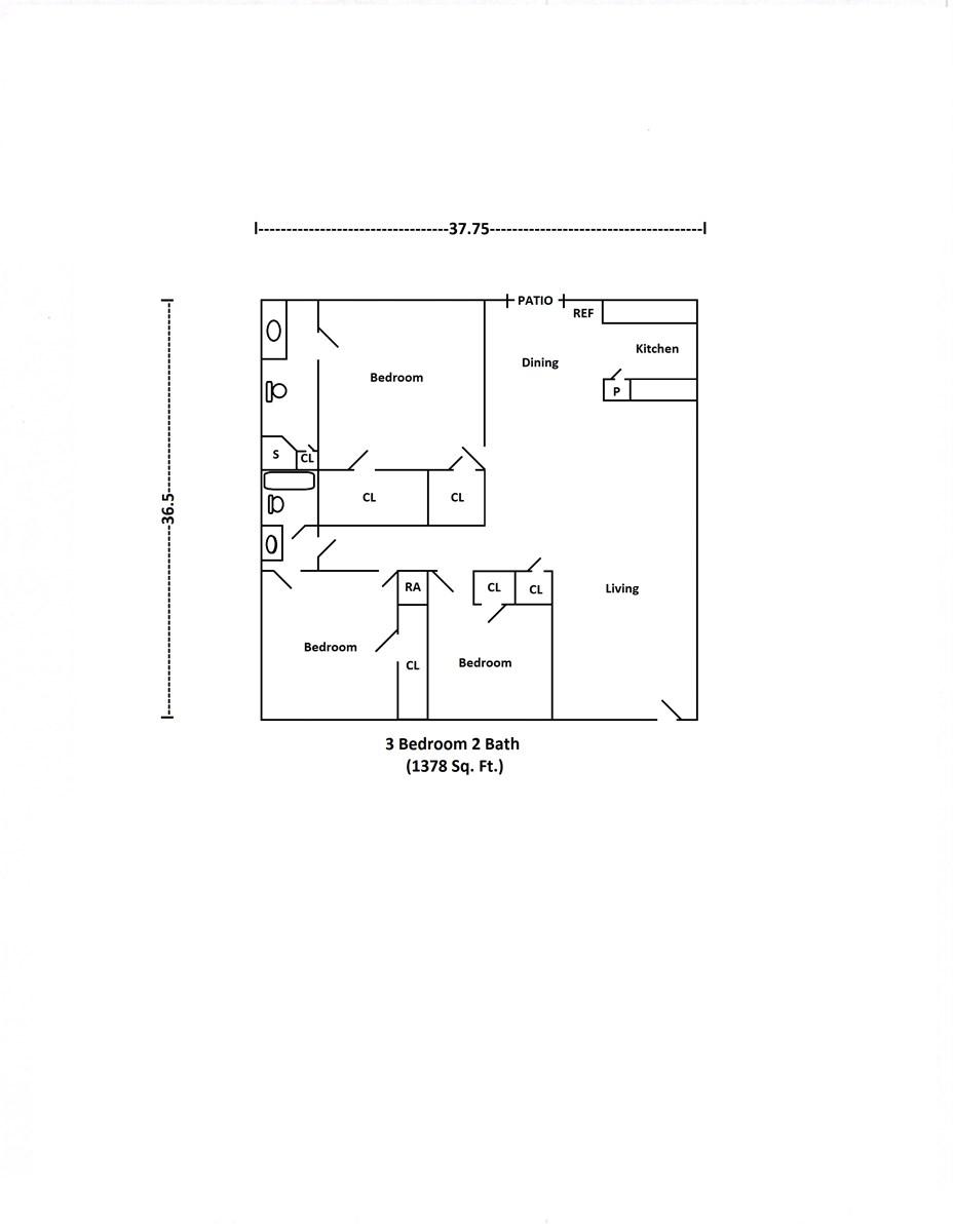 1,378 sq. ft. floor plan