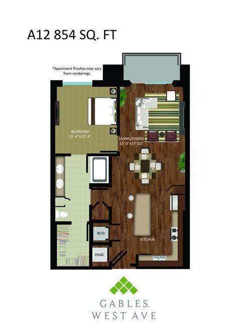854 sq. ft. DA12 floor plan