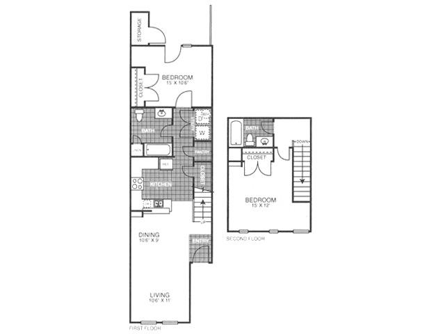 954 sq. ft. SB2/60% floor plan