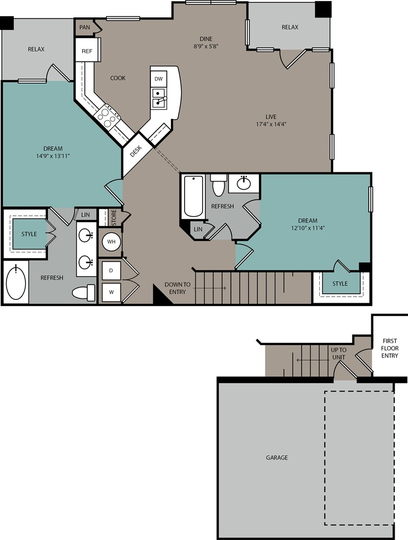 1,382 sq. ft. B2 U floor plan