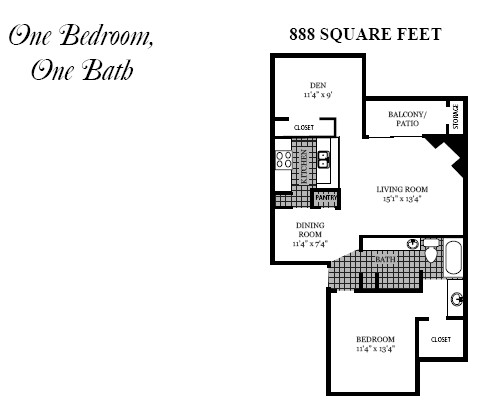 888 sq. ft. A7 floor plan